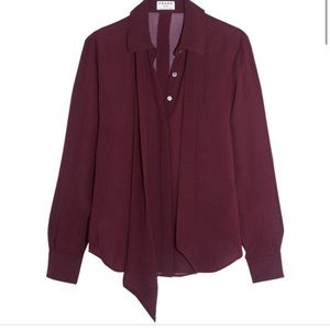 Frame Pussy Bow Silk Button-Down Blouse
